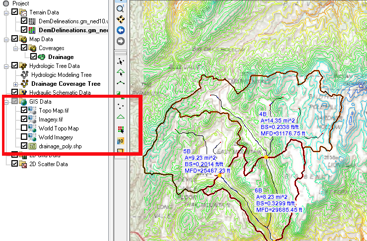 GIS items in a WMS project