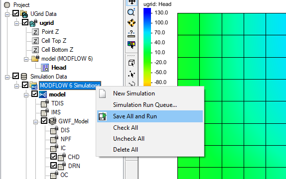 Sae All and Run command in the simulation folder menu